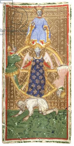 Brambilla Tarot. The Wheel of Fortune, by Bonifacio Bembo, 1442 - 1443, 15th Century, overlaid sheets of cardboard die-pressed, 18 x 9 cm