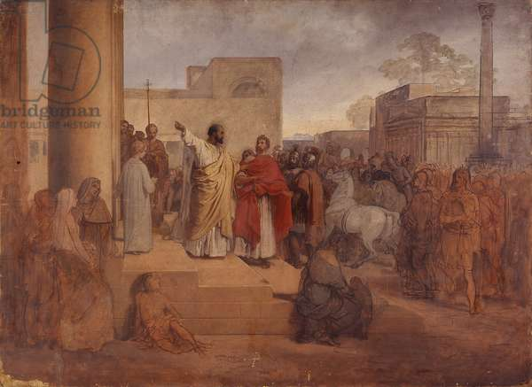 St. Ambrose refuses entry into the Temple to the Emperor Theodosius, by Francesco Hayez, 19th century, oil on canvas, 85 x 116.2 cm.