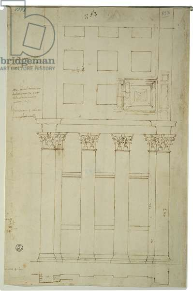 Elevation study of the passageway connecting the ambulatory and the cross passageway of the St Peter's Basilica in Rome, 1518 - 1519 (pen, ink, stylus)