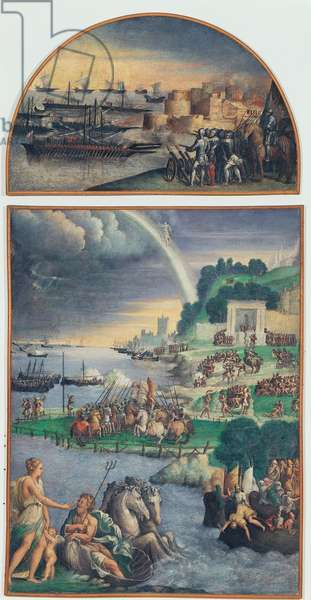 Naval Siege of a City, (fresco transferred to canvas)