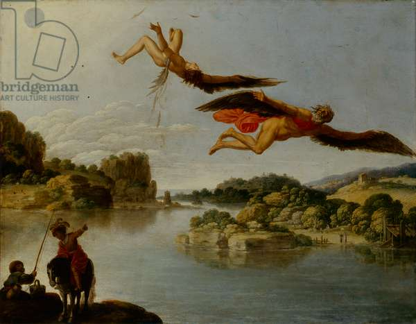 Landscape with Fall of Icarus (Paesaggio con caduta di Icaro), by Carlo Saraceni, 1606-1607, 17th Century, oil on copper, 34 x 54 cm