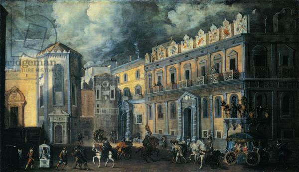 View of San Domenico Square with Palazzo Filomarino (Veduta di Piazza San Domenico con il Palazzo Filomarino), by Ascanio Luciani, 17th century (oil on canvas) 102 x 180 cm