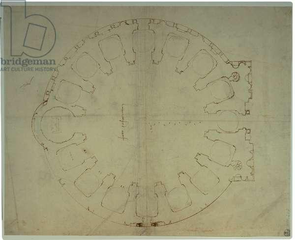 Design/layout/plan of the church of San Giovanni dei Fiorentini, 1518 (pen and bistre)