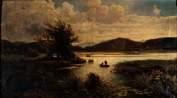 Landscape with River, (oil on canvas)