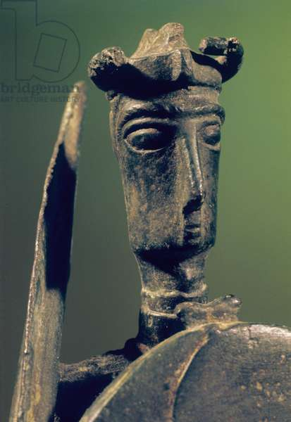 Warrior with sword and shield, 9th - 6th Century b.C., bronze, 24 cm h