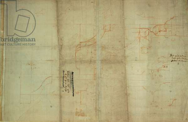 Studies for the base of the internal main tier and details of the ambulatory of the St Peter's Basilica, 1518 - 1519