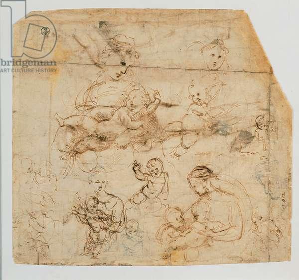 Studies for a Madonna Kneeling and Child, 1483 - 1520 (black pencil, paper)