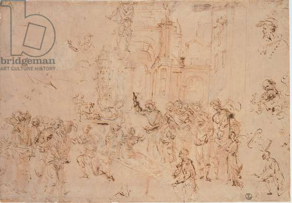 The Rasing of Drusiana, (pen and brown watercolor, traced of black pencil)
