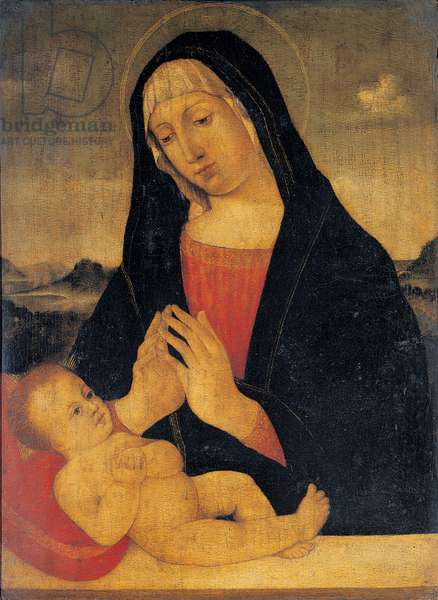 Madonna Adoring the Sleeping Child, (oil on panel)