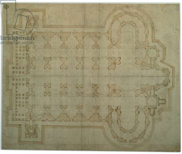 Plan of the St Peter's Basilica in Rome, 1515 - 1516