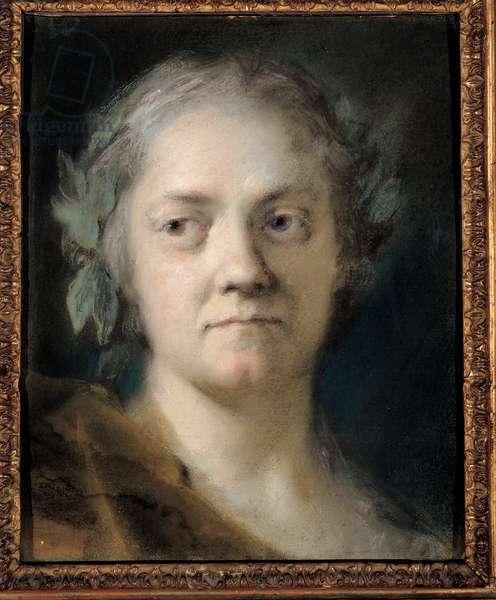 Self-portrait, 1746 (pasta on cerulean paper)