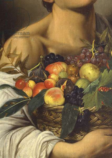Boy with a Basket of Fruit, by Michelangelo Merisi known as Caravaggio, 1593-1595, 16th century, oil on canvas, 70 x 67 cm.