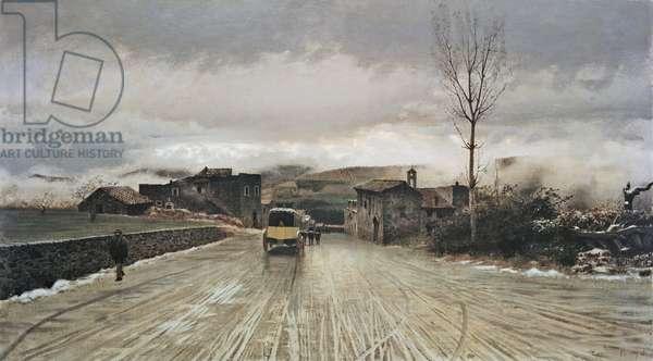 The Crossing of the Apennines (La traversata degli appennini), by Giuseppe De Nittis, 1867, 19th Century, oil on canvas, 43 x 76 cm