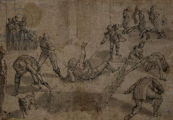 Martyrdom of Saint Lawrence, (watercolored pen drawing on board)