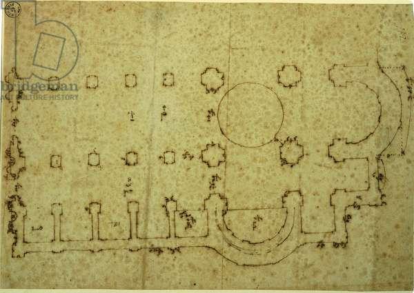 Plan of the church of San Giovanni dei Fiorentini, 1521 (ink on paper)