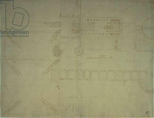 Design plan of the southeastern body of Villa Madama, 1519 (pen, ink, stylus)
