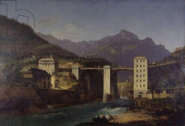 Bridge over Devero at Crevola, by Marco Gozzi, 1820, 19th century, oil on canvas, 81.5 x 110.5 cm.