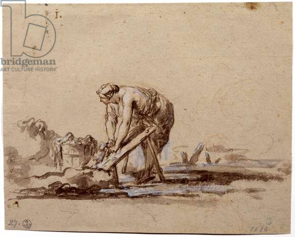 Laundress, by Alessandro Magnasco known as Lissandrino, 17th - 18th century, watercolor on brown paper, red and white pencil traces.