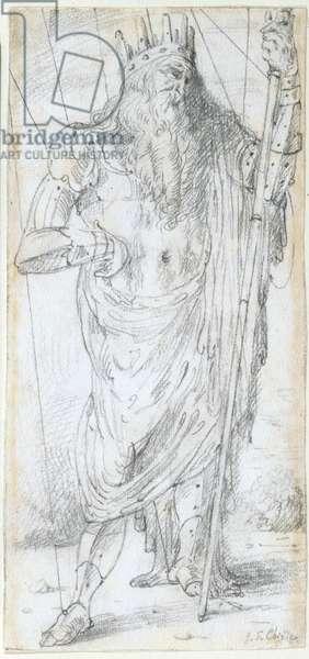 The King (Il re), by Giorgio De Chirico, 1922, 20th Century, pencil drawing, 22,5 x 10,6 cm