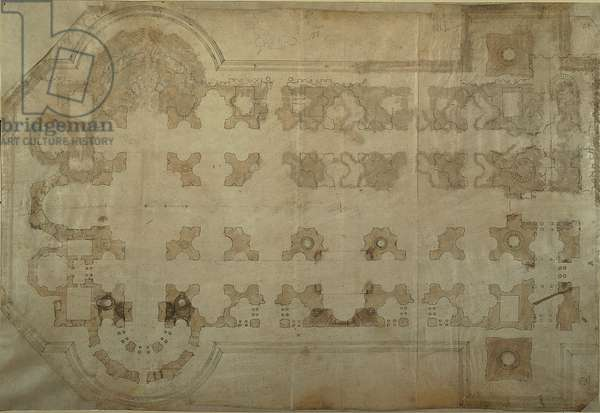 Planimetry for the St Peter's Basilica in Rome, 1518 - 1519 (brown and black ink)