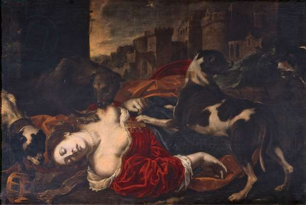 Queen Jezebel Torn by Dogs, (oil on canvas)