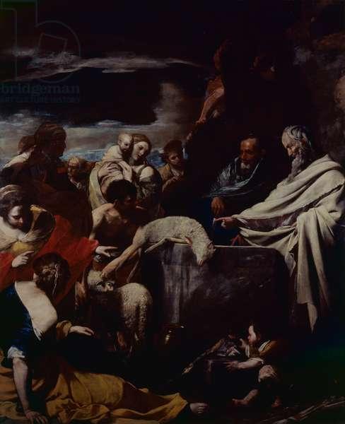 Moses' Sacrifice (Sacrificio di Mosè), by Massimo Stanzione, 1628-1630, 17th Century, oil on canvas, 288 x 225 cm