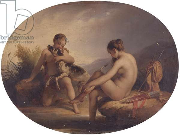 Two nymphs joking with a dog, by Francis Podesti, 19th century, oil on canvas.