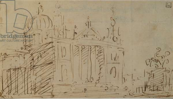 Capriccio with Church and Equestrian Monument, 1754 - 1754 (pen and brown ink)