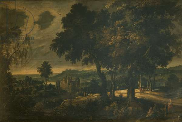 Landscape with Travelers, (oil on canvas)