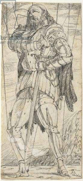 The Hero (L'eroe), by Giorgio De Chirico, 1922, 20th Century, pencil drawing, 22,9 x 10,7 cm