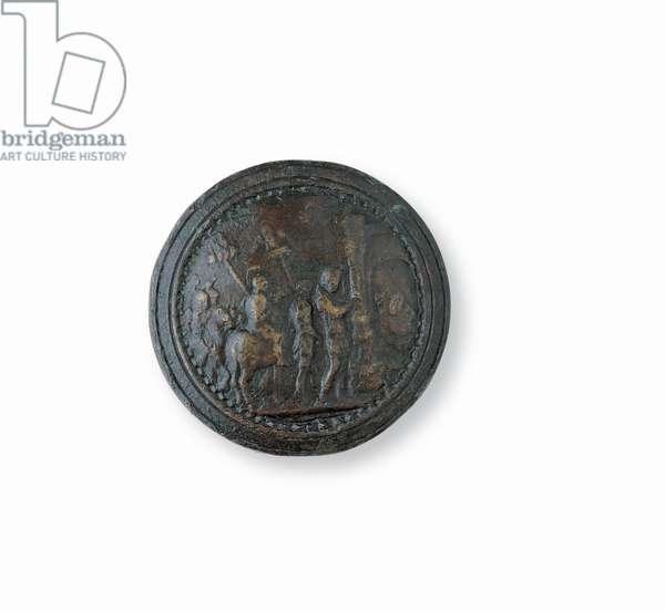 Sword pommel with Mutius Scaevola and Fighting, (Bronze)