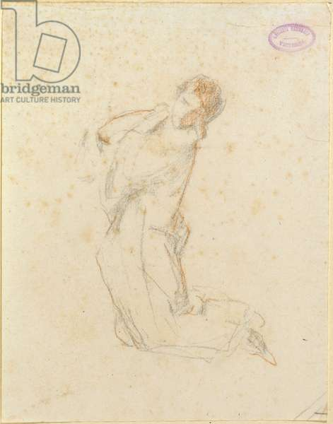 Praying Woman (Donna orante), by Domenico Morelli, 19th century (drawing on paper)