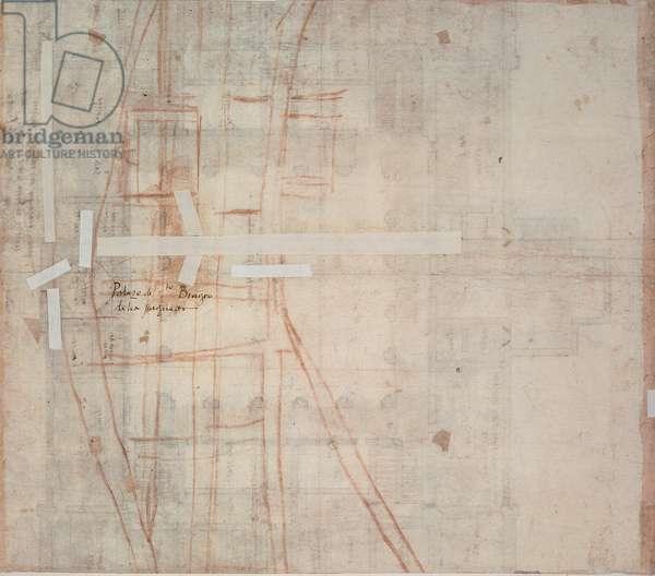 Study for the urban planning of Palazzo dei Tribunali, Via Julia in Rome, 1508