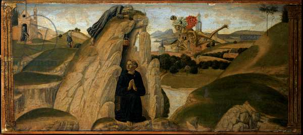 Story from the Life of St Benedict: the monk Romanus brings food to St Benedict in the spelunca, 1475 (tempera on panel)