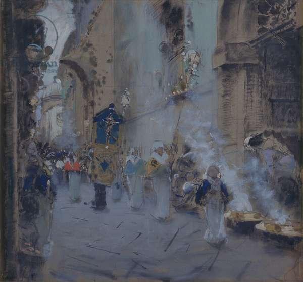 The Good Friday Procession (La Processione del Venerdì Santo), by Francesco Paolo Michetti, 1895, 19th Century, pastel charcoal and watercolor on paper, 85 x 92 cm