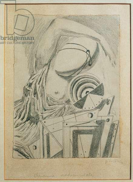 Sleeping Ariadne (Arianna addormentata), by Giorgio de Chirico, 1917, 20th century, pencil on paper, 20 x 15 cm