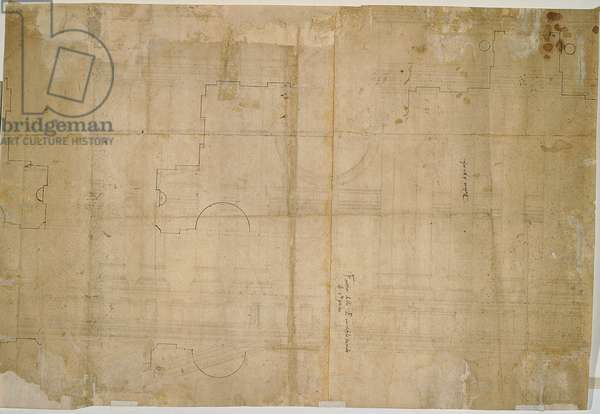 Facade plan/design/layout for the new St Peter's Basilica in Rome, 1516 (brown and black ink)