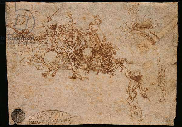 Fight for the Standard at the Bridge with two infantrymen, Study for the 'Battle in Anghiari', by Leonado da Vinci, 1503 - 1505, 16th Century, pen and brown ink on light brown