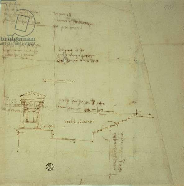 Elevation design/plan/layout of the theater of Villa Madama, 1518 - 1519 (pen, ink)