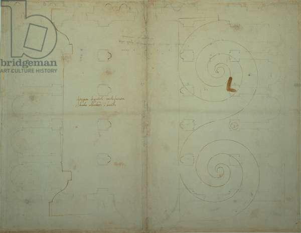 Elevation and section study of the string-course with undulating frieze of Palazzo Alberini, Via del Curato viewpoint, 1519 - 1520 (penna a mano libera e inchiostro seppia su abbozzo parziale a ma)