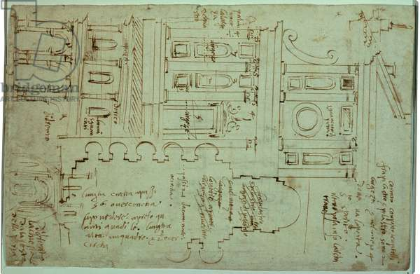 Studies for the church of Sant'Eligio degli Orefici, (ink)