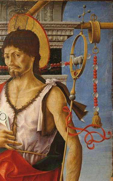 Griffoni Polyptych: St. John the Baptist (Polittico Griffoni: San Giovanni Battista), by Francesco del Cossa, 1470 - 1473, 15th Century, tempera and gold on board, 112 x 55 cm