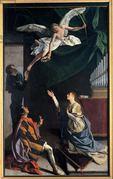 Sts Cecilia, Valerianus, and Tiburtius visited by the Angel, 1620 (oil on canvas)