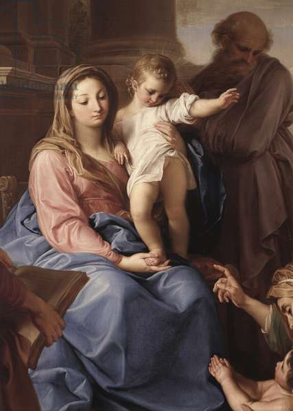 Madonna and Child with Saints Joseph and Zechariah, Elizabeth and John the Baptist, by Pompeo Girolamo Batoni, 18th Century, oil on canvas