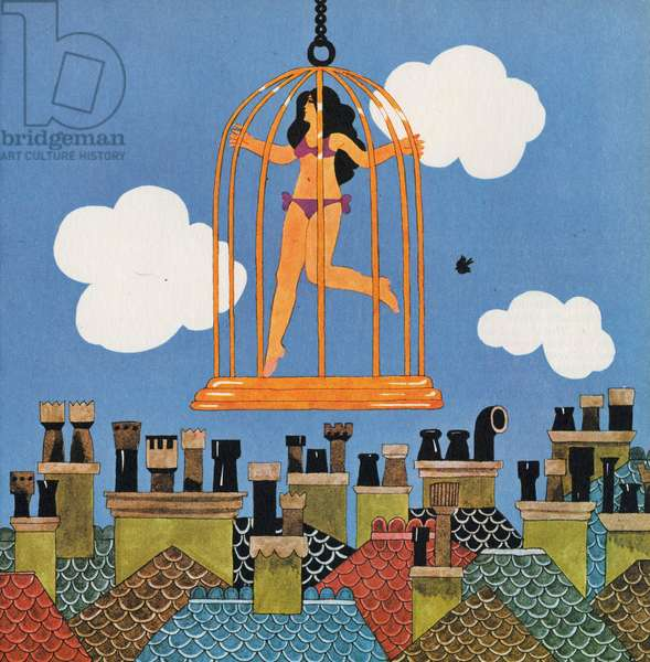 A Caged Bird, from 'Carnaby Street' by Tom Salter, 1970 (colour litho)
