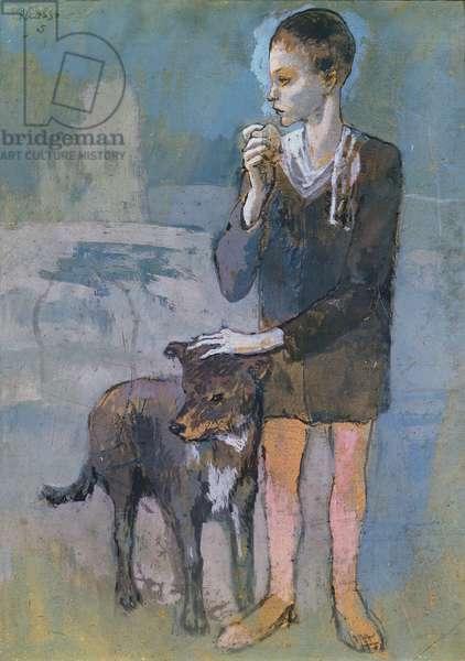Boy with a Dog, 1905 (gouache on brown card)