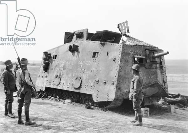 A German tank captured by the 26th Battalion at Monument Wood near Villers-Bretonneux on 14 July 1918 and subsequently salvaged for the Australian War Museum by the 5th British Brigade of Tanks, 4 August 1918 (b/w photo)