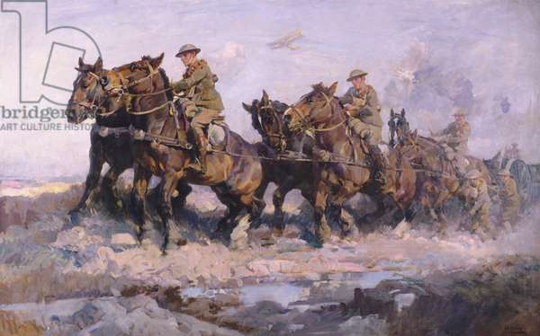 Bringing up the Guns, 1918 (oil on canvas)