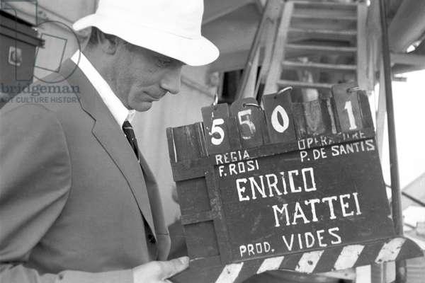 Gian Maria Volonté on the film set of The Mattei Affair (b/w photo)