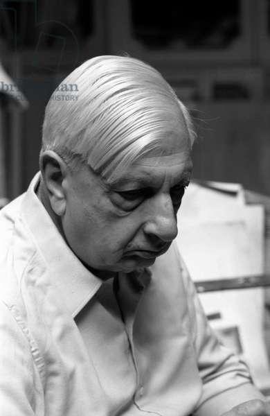Portrait of Italian painter and sculptor Giorgio de Chirico in his atelier, Rome, July 1967 (b/w photo)